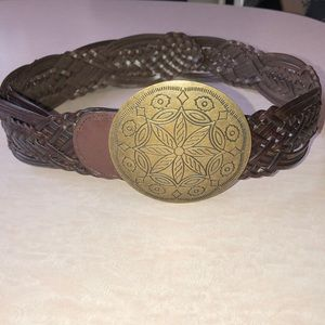 New York & Company Genuine Leather Woven Belt